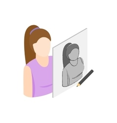 Drawing female portrait icon isometric 3d style vector image vector image