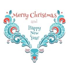 elk of christmas card vector image vector image