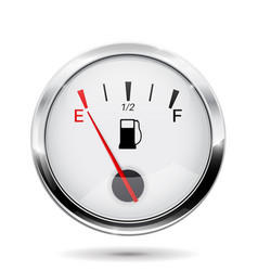 fuel gauge round gauge with chrome frame vector image vector image