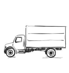 minibus for cargo transportation hand drawn vector image