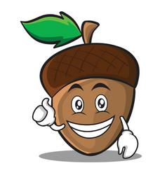 optimistic acorn cartoon character style vector image vector image
