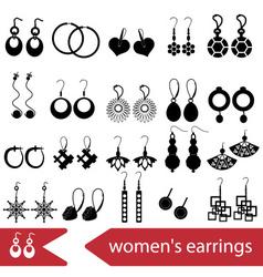 various ladies earrings types set of icons eps10 vector image