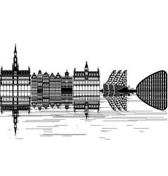 brussels skyline vector image vector image