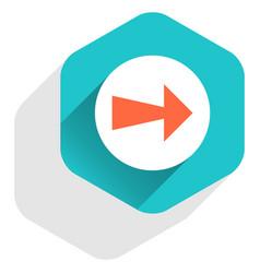 flat arrow sign round icon hexagon button vector image vector image