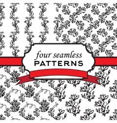 Four seamless pattern with twig magnolia vector image