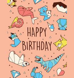happy birthday origami card vector image vector image