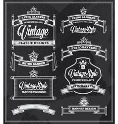 Retro vintage banners and frames chalkboard design vector image vector image