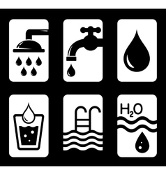six concept water icons vector image vector image
