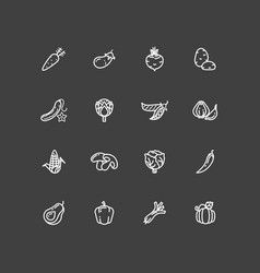 white vegetables outline icons set vector image vector image