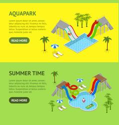 Aqua park banner horizontal set isometric view vector