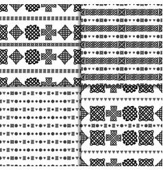 celtic knot seamless pattern set vector image