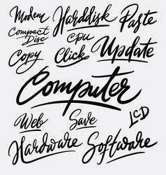 computer and update hand written typography vector image vector image