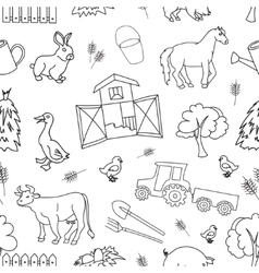 Doodle pattern farm vector image vector image