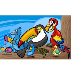 exotic birds group cartoon vector image