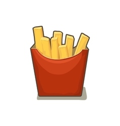 French fries potato in red paper Box Isolated on vector image