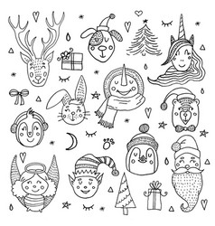 set of cute cartoon christmas characters vector image