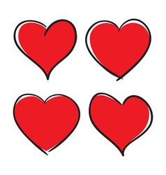 Set of hand drawn hearts design elements vector