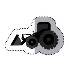sticker monochrome tractor loader building machine vector image vector image
