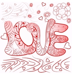 zentangle style abstract inscription love vector image vector image