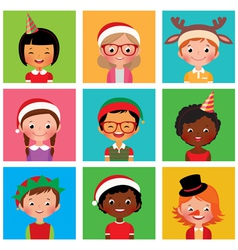 Children in holiday Christmas hats vector image vector image