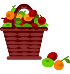 fruits in basket vector image vector image