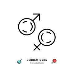 Gender icons male and female symbols line art vector