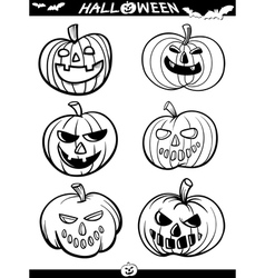 Halloween Cartoon Themes for Coloring Book vector image vector image