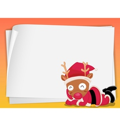 paper sheets and reindeer vector image