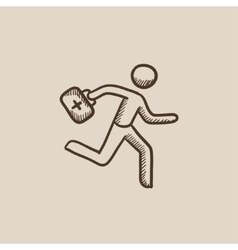 Paramedic running with first aid kit sketch icon vector image