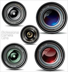 professional camera lens - set vector image vector image