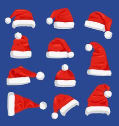 set of santa claus hats vector image vector image