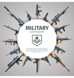 Weapons label guns badge with text vector image vector image