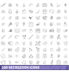 100 recreation icons set outline style vector image