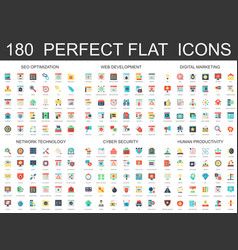 180 modern flat icons set of seo optimization web vector
