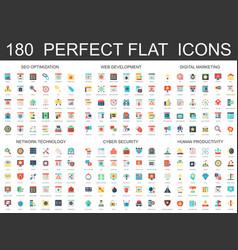 180 modern flat icons set seo optimization web vector image