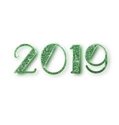 2019 glitter typography design green sparkling vector image