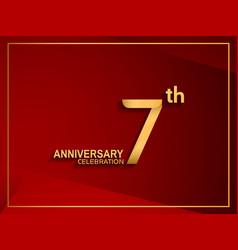 7 anniversary celebration logotype golden color vector