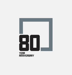 80 year anniversary square template design vector