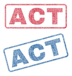 act textile stamps vector image