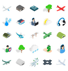 Air force icons set isometric style vector