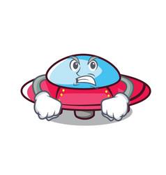 angry ufo mascot cartoon style vector image