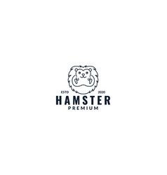 Animal hamster face line cute modern logo design vector