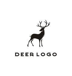 antler deer buck stag reindeer silhouette logo vector image