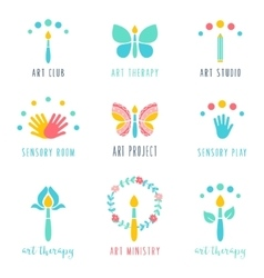 Art class studio and projects icons therapy vector