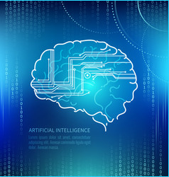 artificial intelligence brain and circuits vector image