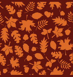 autumn leaves seamless background orange vector image