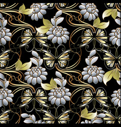 Baroque floral seamless pattern vector