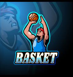 Basketball esport logo mascot design vector