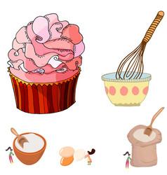 Big cupcake and women mixing ingredients vector