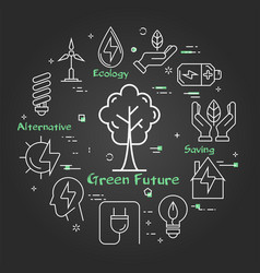 black linear banner of green safe future vector image
